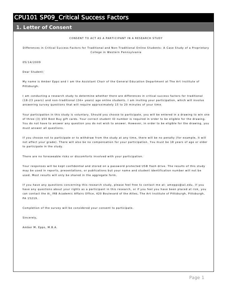 CPU101 SP09_Critical Success Factors 1. Letter of Consent                                   CONSENT TO ACT AS A PARTICIPAN...