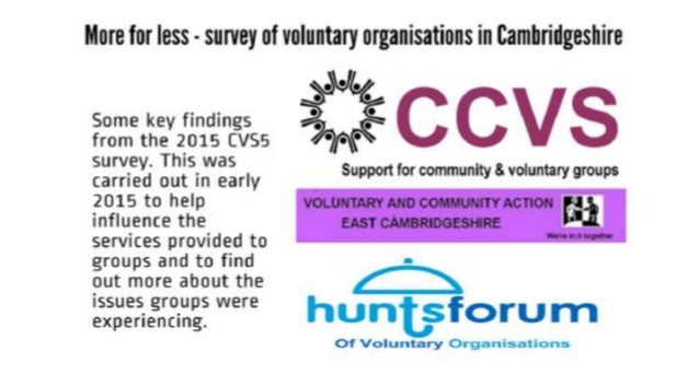 More for less - survey of voluntary organisations in Eamhrirlgeshire  Some key findings % g from the 2015 cvss / *7f-§ sur...