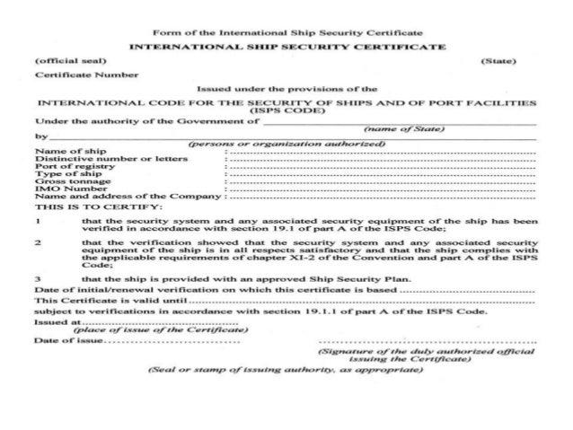 Vessel survey Certificate