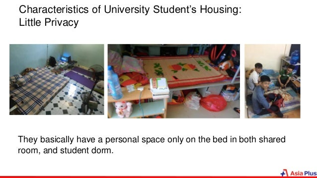 Characteristics of University Student's Housing: Little Privacy They basically have a personal space only on the bed in bo...