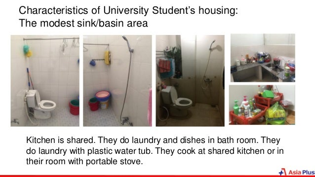 Characteristics of University Student's housing: The modest sink/basin area Kitchen is shared. They do laundry and dishes ...