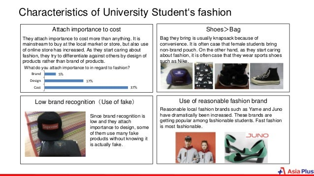 Characteristics of University Student's fashion Attach importance to cost Low brand recognition(Use of fake) Use of reason...