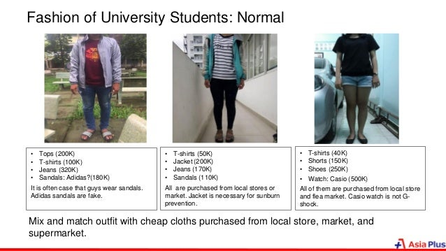 Fashion of University Students: Normal • Tops (200K) • T-shirts (100K) • Jeans (320K) • Sandals: Adidas?(180K) It is often...
