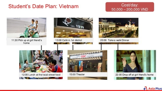 Student's Date Plan: Vietnam 11:30 Pick up at girl friend's home 12:00 Lunch at the local street food 13:00 Café in 1st di...