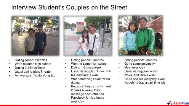 Interview Student's Couples on the Street • Dating period: 2months • Went to same high school • Dating 3-4times/week • Usu...