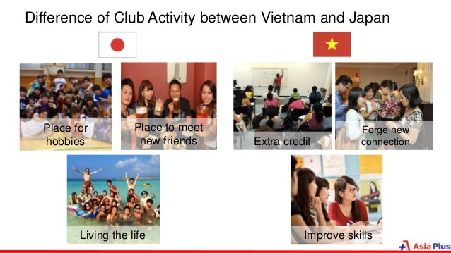 Difference of Club Activity between Vietnam and Japan Place to meet new friends Place for hobbies Living the life Extra cr...