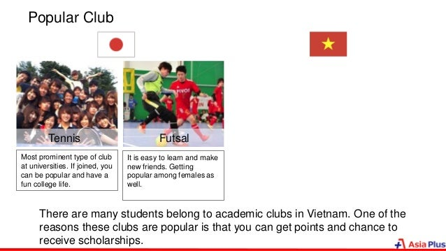 Popular Club FutsalTennis Most prominent type of club at universities. If joined, you can be popular and have a fun colleg...