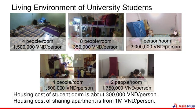 Living Environment of University Students Housing cost of student dorm is about 300,000 VND/person. Housing cost of sharin...