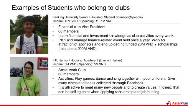 Examples of Students who belong to clubs Banking University Senior / Housing: Student dormitory(8 people) Income: 3M VND /...