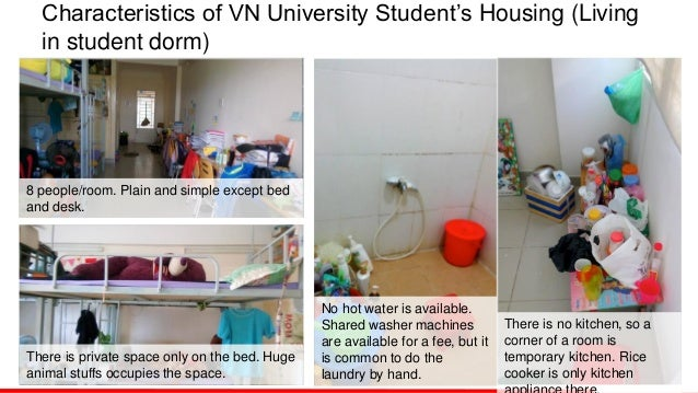 Characteristics of VN University Student's Housing (Living in student dorm) There is no kitchen, so a corner of a room is ...