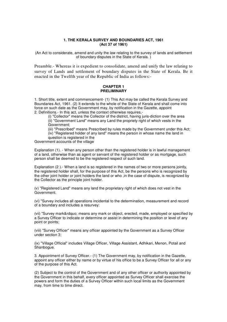 1. THE KERALA SURVEY AND BOUNDARIES ACT, 1961                                  (Act 37 of 1961)(An Act to considerate, ame...