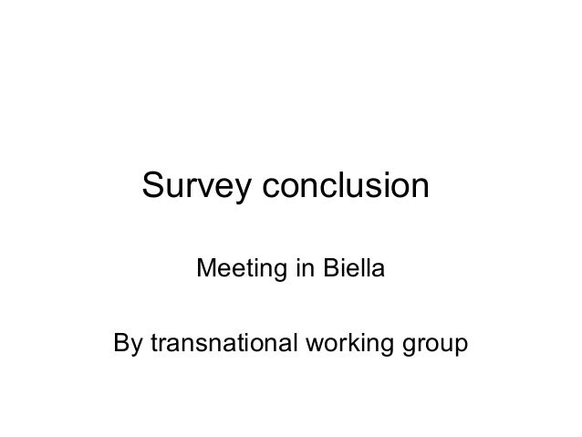 Survey conclusion Meeting in Biella By transnational working group