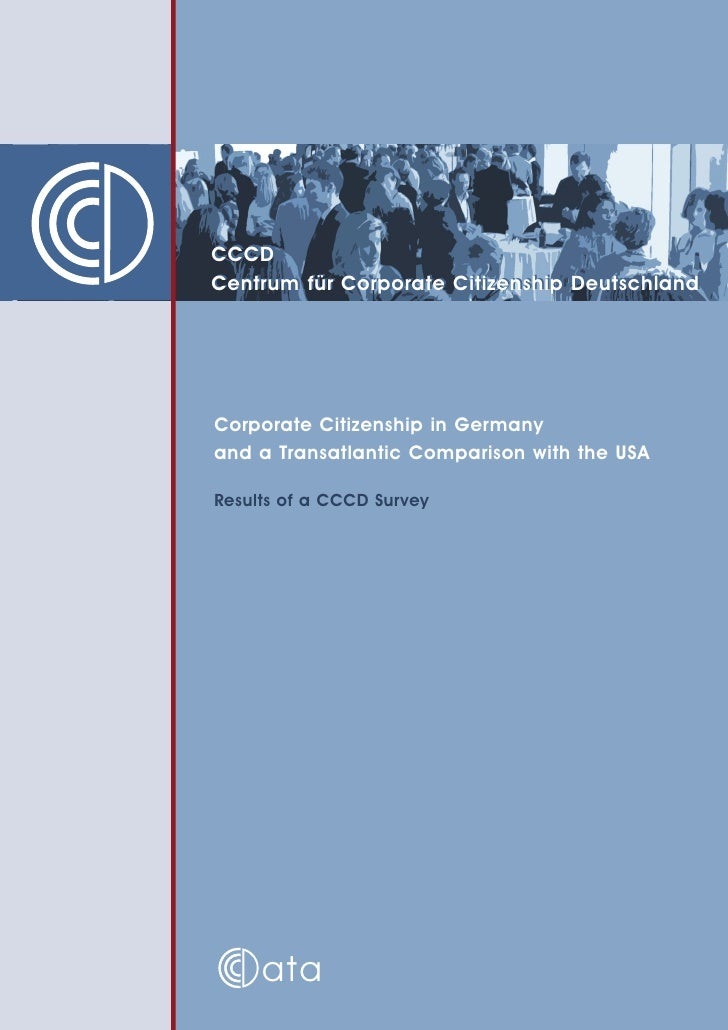 CCCD Centrum für Corporate Citizenship Deutschland     Corporate Citizenship in Germany and a Transatlantic Comparison wit...