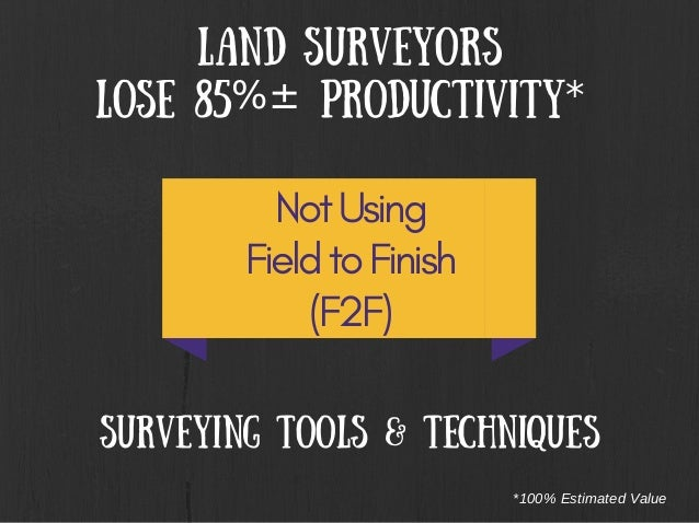 Land Surveyors Lose 85%± Productivity* Not Using Field to Finish (F2F) Surveying tools & techniques *100% Estimated Value