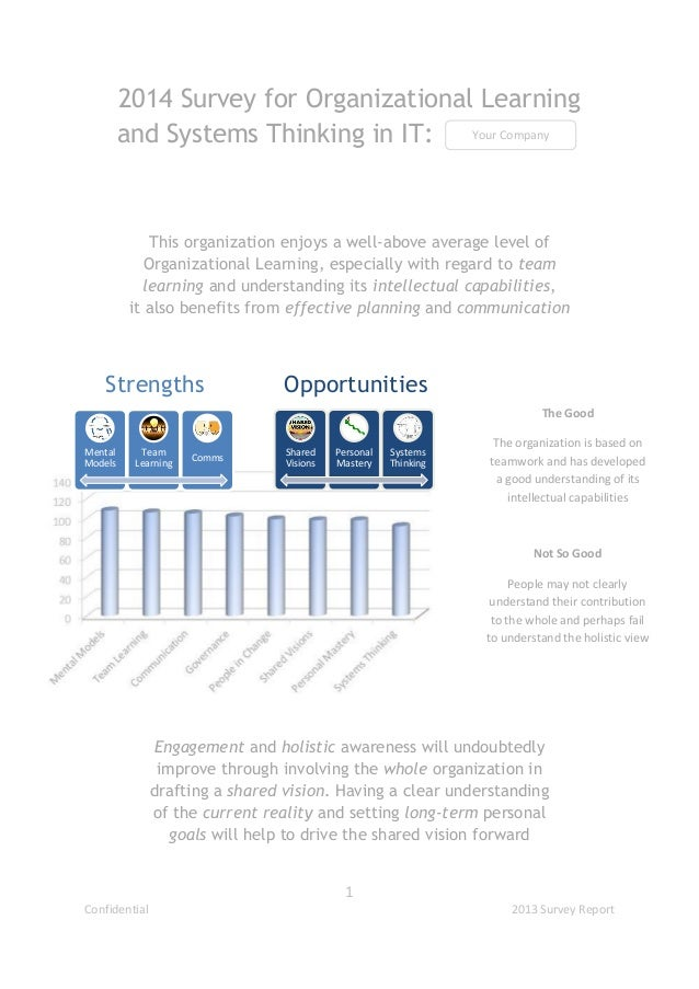 2014 Survey for Organizational Learning Your Company and Systems Thinking in IT:  This organization enjoys a well-above av...
