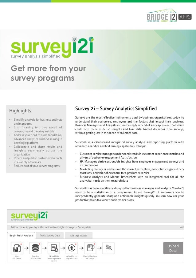 APPS  survey 2  survey analysis simplified  Get more from your survey programs  Surveyi2i – Survey Analytics Simplified  Hi...