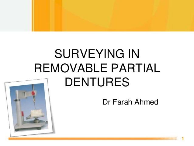 Free Powerpoint Templates 1 SURVEYING IN REMOVABLE PARTIAL DENTURES Dr Farah Ahmed