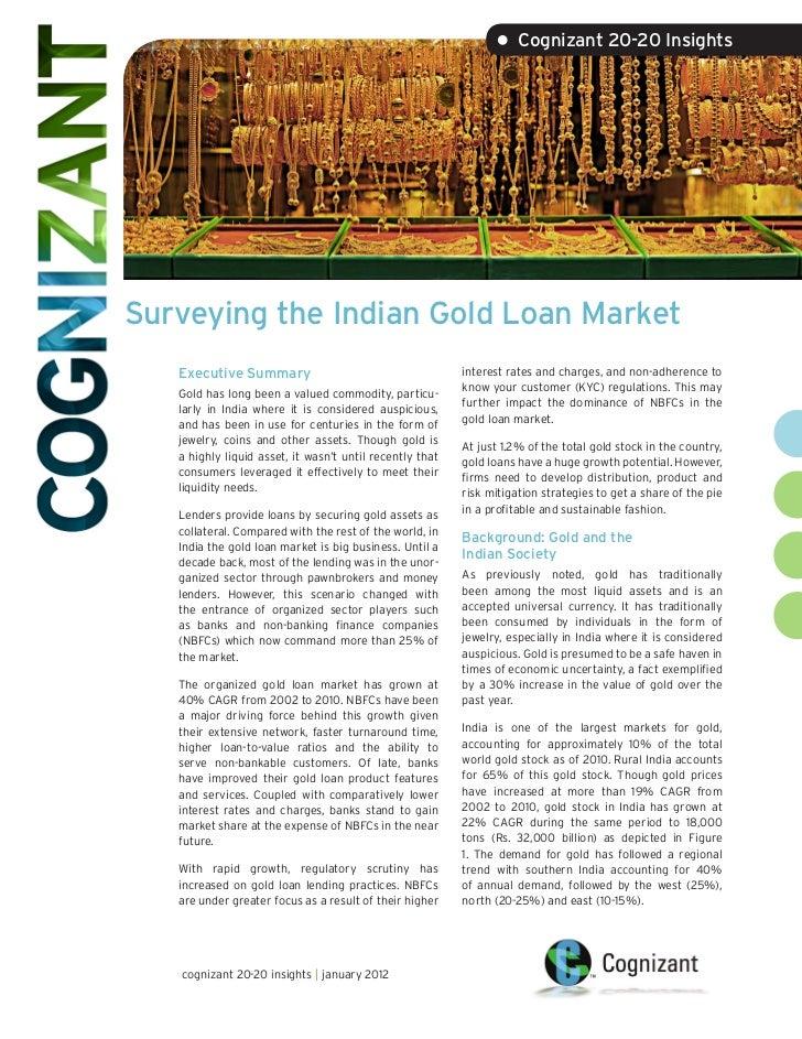 • Cognizant 20-20 InsightsSurveying the Indian Gold Loan Market   Executive Summary                                      i...