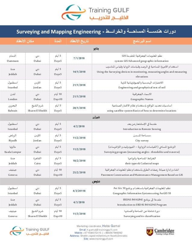 دورات هندســـة المساحـــة والخرائـــط لعام 2018    Surveying and Mapping Engineering Training Courses for 2018 Slide 2