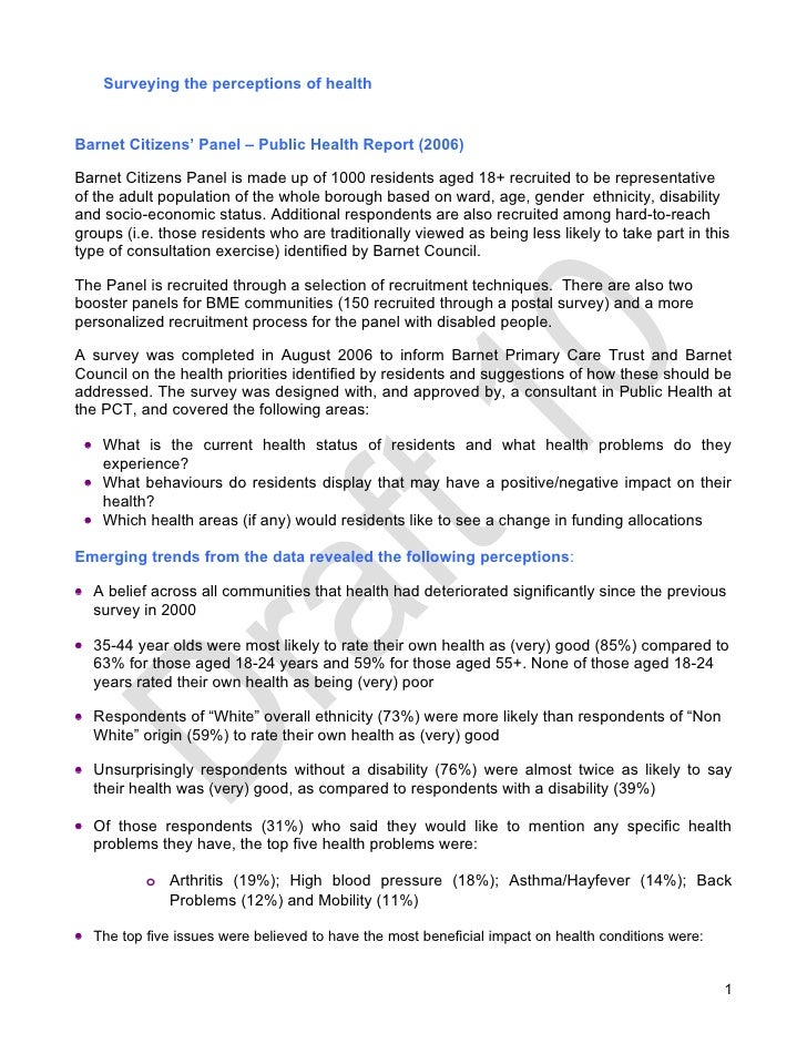 Surveying the perceptions of health   Barnet Citizens' Panel – Public Health Report (2006)  Barnet Citizens Panel is made ...