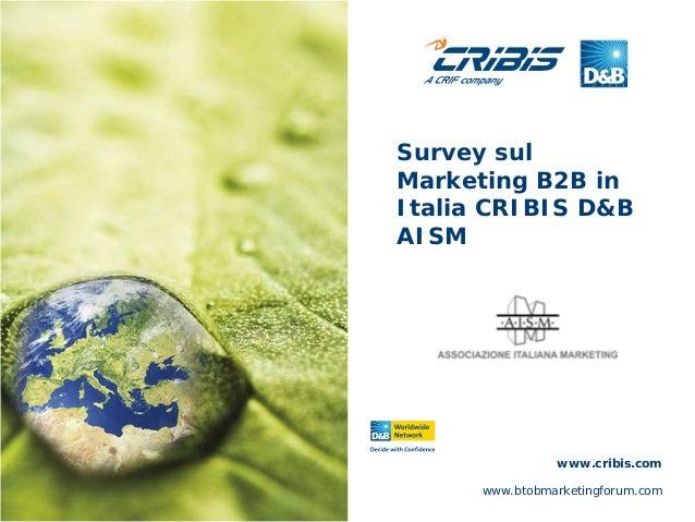 Survey sul Marketing B2B in Italia CRIBIS D&B AISM www.btobmarketingforum.com www.cribis.com