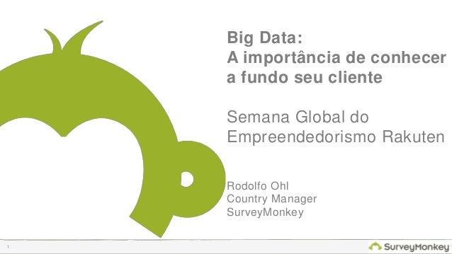 1  Big Data:  A importância de conhecer  a fundo seu cliente  Semana Global do Empreendedorismo Rakuten  Rodolfo Ohl  Coun...