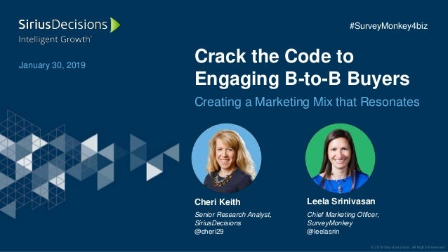 © 2018 SiriusDecisions. All Rights Reserved Creating a Marketing Mix that Resonates Crack the Code to Engaging B-to-B Buye...