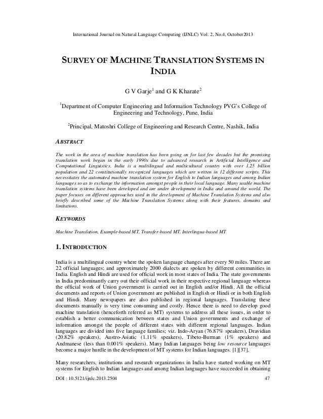 International Journal on Natural Language Computing (IJNLC) Vol. 2, No.4, October2013  SURVEY OF MACHINE TRANSLATION SYSTE...
