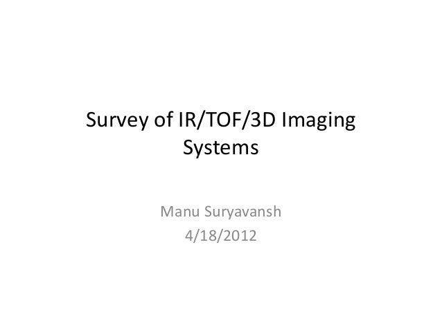 Survey of IR/TOF/3D Imaging  SSyysstteemmss  Manu Suryavansh  4/18/2012