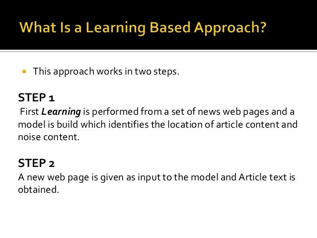 Model Learns some  common features of web  pages to distinguish  between Noise and main  Article Text Content  Model outpu...