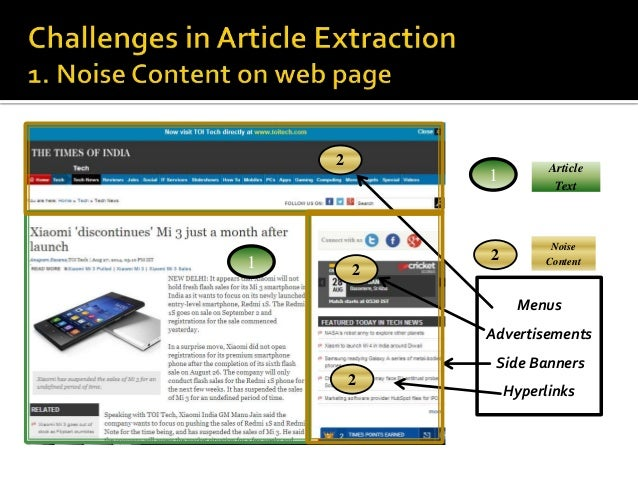 1  1  Article  Text  2  Noise  Content  Menus  Advertisements  Side Banners  Hyperlinks  2  2  2