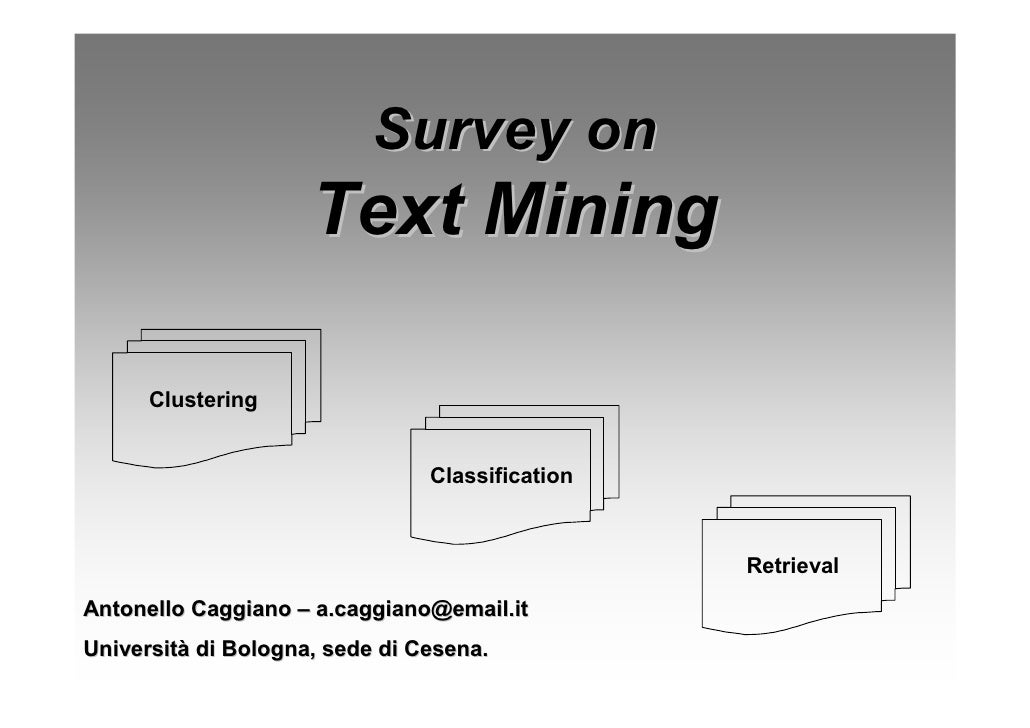 Survey on                      Text Mining        Clustering                                   Classification             ...