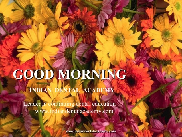 GOOD MORNINGGOOD MORNING INDIAN DENTAL ACADEMY Leader in continuing dental education www.indiandentalacademy.com www.india...