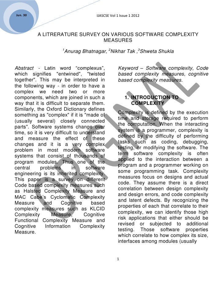 Jun. 30                                 IJASCSE Vol 1 Issue 1 2012           A LITRERATURE SURVEY ON VARIOUS SOFTWARE COMP...