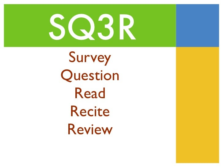 sq3r reading Sq3r is an effective note-taking system that helps english language learners self-monitor their comprehension before, during, and after reading a passage in a textbook this instructional strategy helps students understand key historical content and vocabulary my version also incorporates a.
