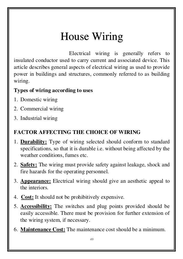 survey report on house wiring, House wiring