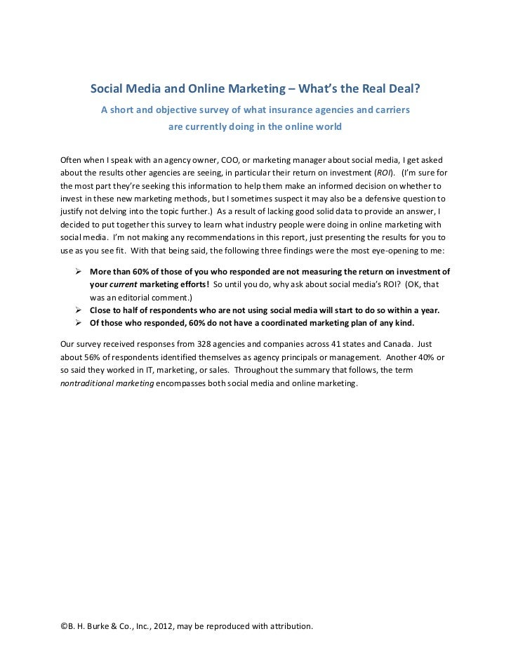 Social Media and Online Marketing – What's the Real Deal?           A short and objective survey of what insurance agencie...