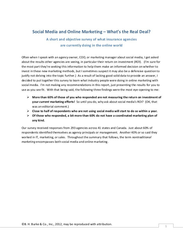 Social Media and Online Marketing – What's the Real Deal?                   A short and objective survey of what insurance...