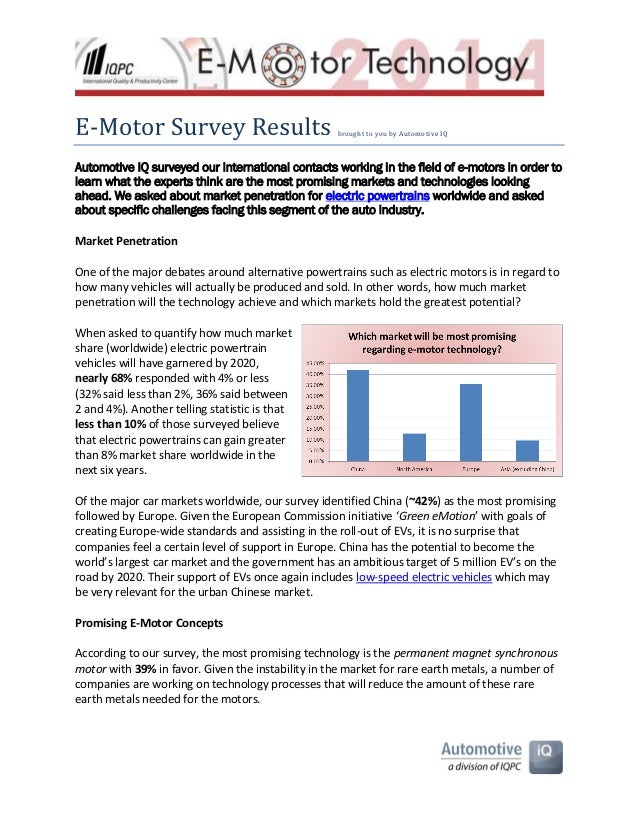 -  brought to you by Automotive IQ  Automotive IQ surveyed our international contacts working in the field of e-motors in ...