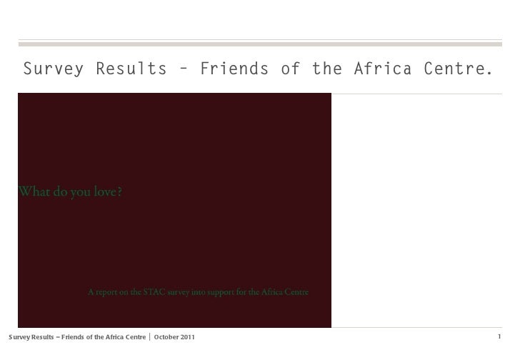 Survey Results – Friends of the Africa Centre.