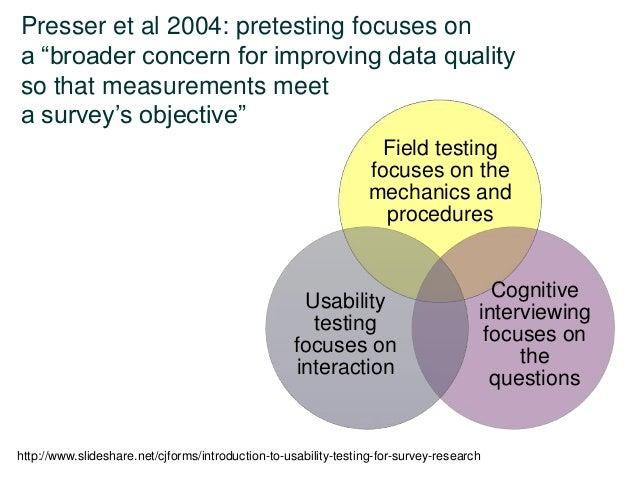 "Presser et al 2004: pretesting focuses on a ""broader concern for improving data quality so that measurements meet a survey..."