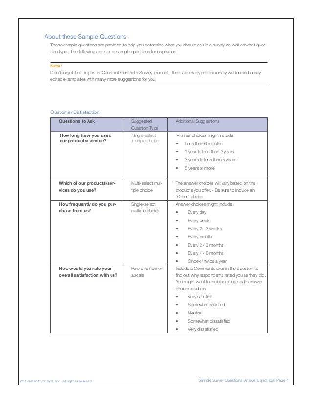 Sample Survey Questions ...