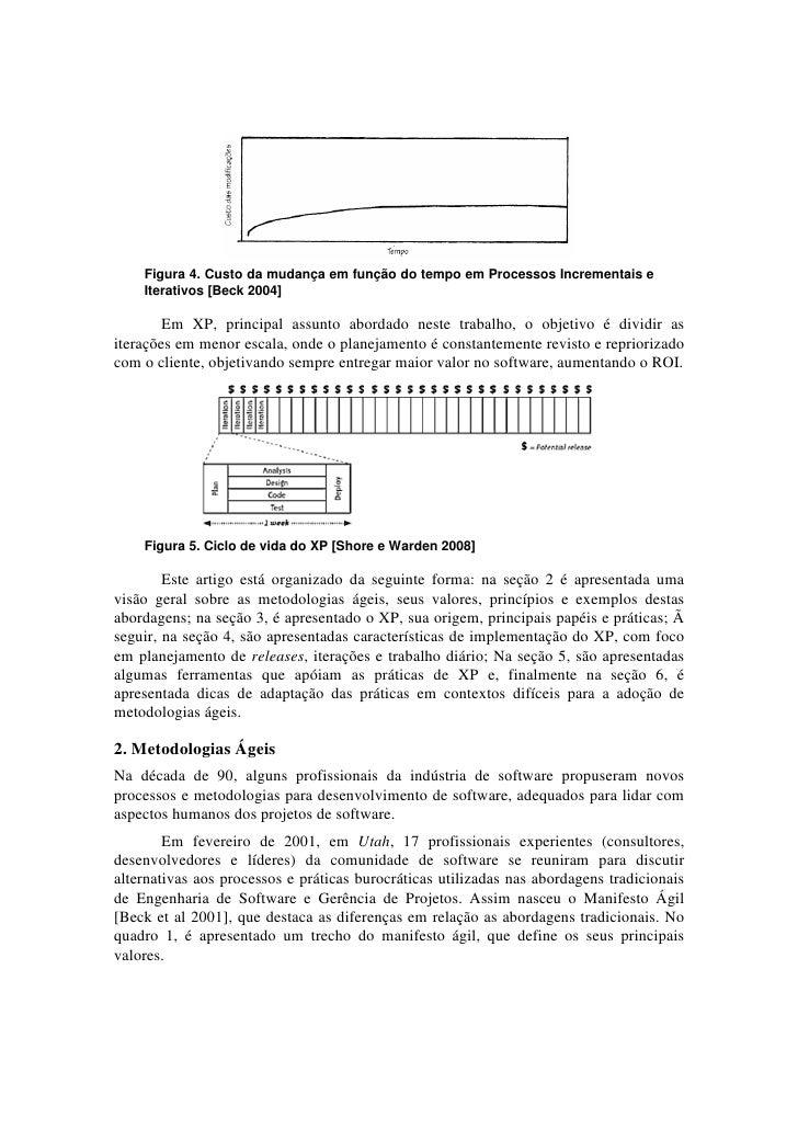 Figura 4. Custo da mudança em função do tempo em Processos Incrementais e    Iterativos [Beck 2004]        Em XP, principa...
