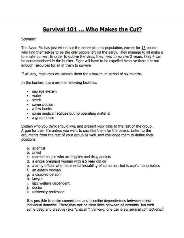 Survival 101 Worksheet