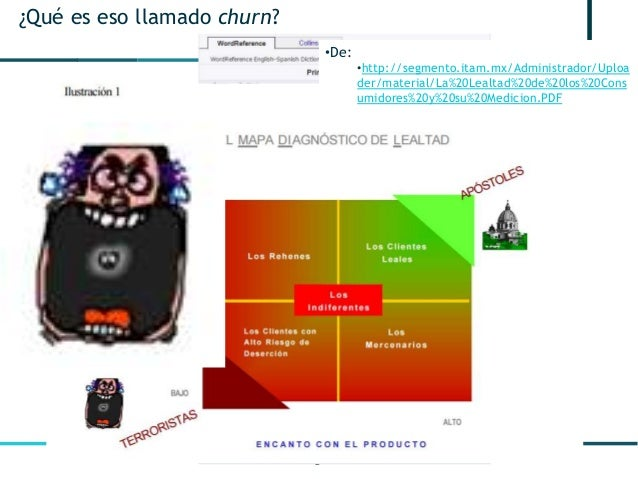 2 ¿Qué es eso llamado churn? •De: •http://segmento.itam.mx/Administrador/Uploa der/material/La%20Lealtad%20de%20los%20Cons...
