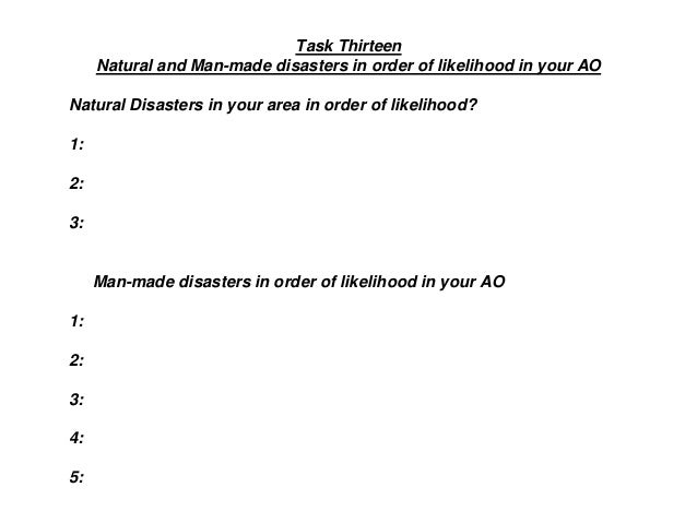 Task Thirteen Natural and Man-made disasters in order of likelihood in your AO Natural Disasters in your area in order of ...