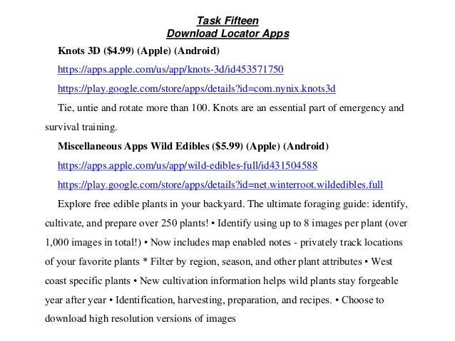 Task Fifteen Download Locator Apps Knots 3D ($4.99) (Apple) (Android) https://apps.apple.com/us/app/knots-3d/id453571750 h...