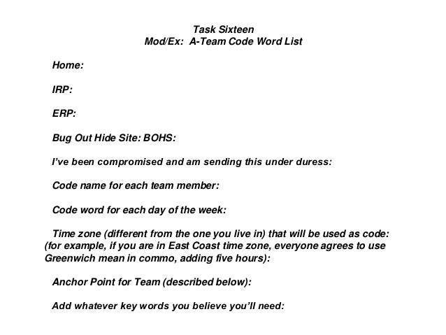 Task Sixteen Mod/Ex: A-Team Code Word List Home: IRP: ERP: Bug Out Hide Site: BOHS: I've been compromised and am sending t...
