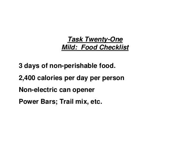 Task Twenty-One Mild: Food Checklist 3 days of non-perishable food. 2,400 calories per day per person Non-electric can ope...