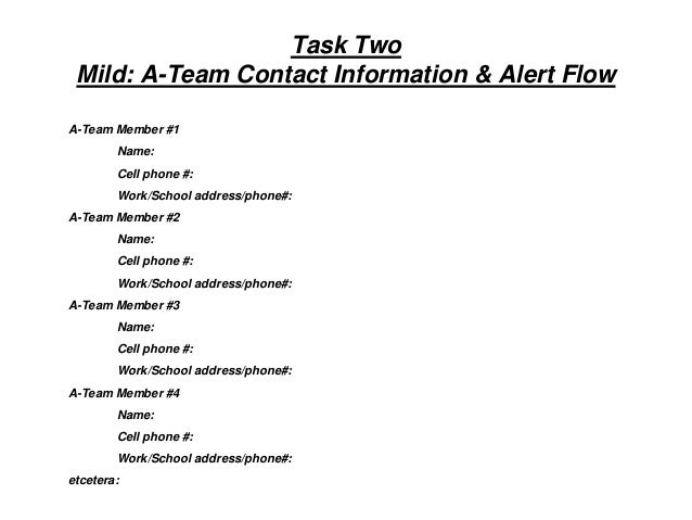 Task Two Mild: A-Team Contact Information & Alert Flow A-Team Member #1 Name: Cell phone #: Work/School address/phone#: A-...